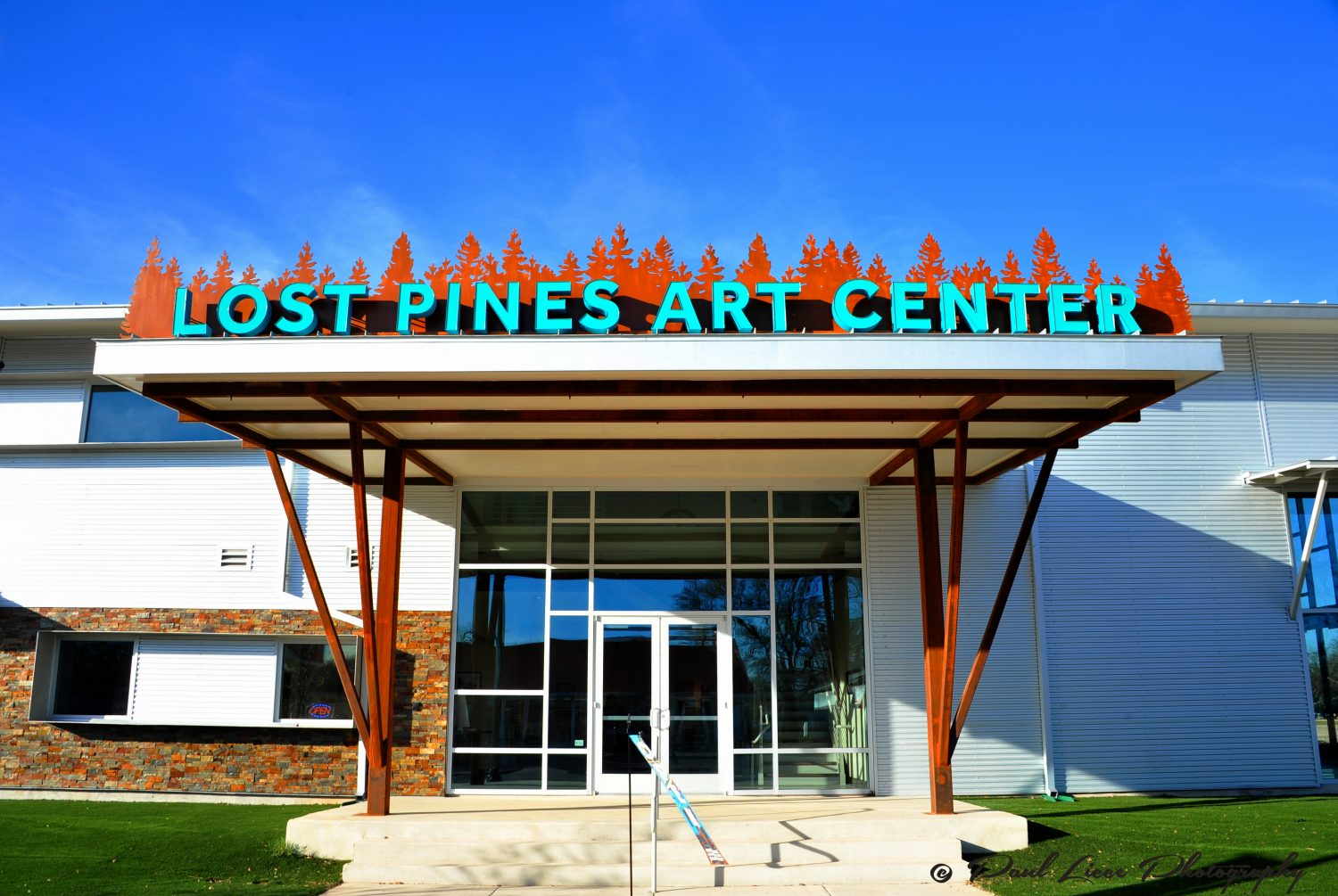 Front entrance of the Lost Pines Art Center