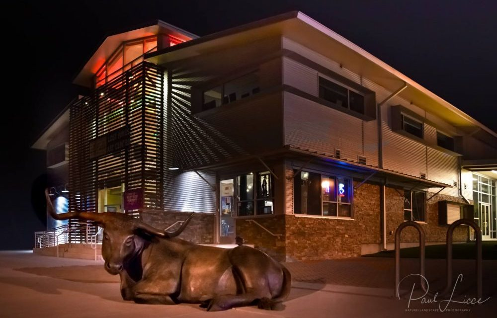The Lost Pines Art Center at night