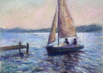 Maribel Mast- Evening Sail, Pastel