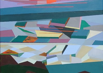Nell Reinap- Seaside at Dusk from a Cliff, Acrylic