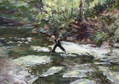 Crossing the Creek, Pastel